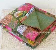 Cotton Indian Handmade Kantha Green Fruits Gudari Quilt Throw Twin Bed Cover