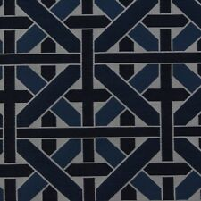 DESIGNER WICKER WEAVE SAPPHIRE BLUE GEOMETRIC GATE JACQUARD FABRIC BY YARD 55