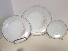 "NORITAKE ""CARTHAGE"" 3-PC PLACE SETTING #3330 PINK ROSES PLATINUM TRIM BEAUTIFUL!"