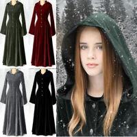 Medieval Renaissance Women Gothic Long Sleeve Hooded Floor Length Dress Costume
