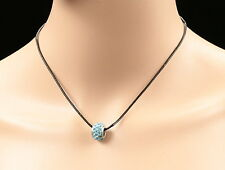 sapphire blue crystal old silver plate roliing ring pendant leather necklace M13