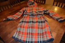 Womens Woolrich Hooded Long Coat Size Medium Color Navy and Red