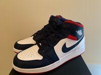 Nike Air Jordan Retro 1 MID SE USA WHITE Varsity Red Midnight Navy - Boys 3.5-7y