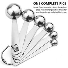 Metal Measuring Cups and Spoons 6 Cup Spoon Stainless Steel Set of 6 for Dry