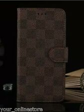 iPhone 6 iPhone 6S Classic Grid PU Leather Wallet Cover Case - Brown