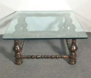 Antique Ethan Allen Pine Square Cocktail Glass Coffee Table #12-8081 Old Tavern