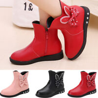 Kids Baby Princess Butterfly Knot Shoes Fashion Leather Boots Children Booties