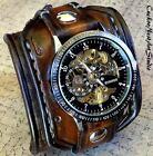 Steampunk Leather Cuff Watch in Aged Brown