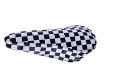 BLACK & WHITE CHEQUERED BIKE SEAT COVER RETRO SUIT BMX, MTB OR ANY CYCLE SADDLE
