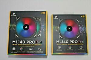 3 X Corsair ML140 Pro RGB LED Magnetic Levitation Case Fans (140mm PWM)