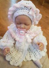 Hand Crochet Bébé Filles Cardigan/manteau et bonnet Hat Set