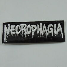 NECROPHAGIA Band Logo (WHITE Embroidered Small Patch) (NEW)