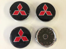 Set of 4 MITSUBISHI Face 60mm Clip 57mm ALLOY WHEELS CENTER CAPS, Black/Red