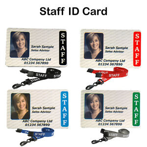 "Plastic Card Staff Photo ID Badge Personalised Custom With ""Staff"" Lanyard"