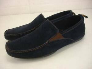 Men's 10.5 M Michael Toschi Onda Driving Shoes Navy Blue Suede Leather Loafers