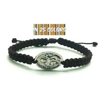 St Francis of Assisi Bracelet - Patron Saint Catholic Medal- Adjustable Cord