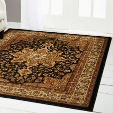 "Black Oriental Area Rug 4X6 Small Persien Carpet 83 - Approx 3' 6"" X 5' 2"""