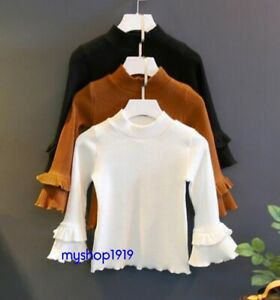 Girls Autumn Top Cotton Long Sleeve Knitted Christmas Ruffled Tops Age 1-7 years