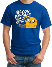 Adventure Time Making Bacon Pancakes Jake Dog Funny New Mens Royal Blue T Shirt