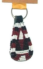 """South African Beaded Teardrop Keychain 2.5"""" Contemporary Color Handmade L10"""