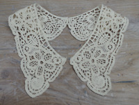 Vintage Period Guipure Lace collar, Cream Lace Sewn On Dressmaking, 1 pair. LC37