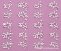 Nail Art Stickers Decal 3D Beauty White Flower Bling Clear Crystal Decoration