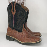 Ariat Womens Fat Baby 10005910 Black Brown Leather Cowgirl Western Boots Sz 8.5B