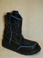 ROPER 89-021-0533-0301 BLACK BLUE SLIP ON COWGIRL BOOTS WOMENS SZ 7