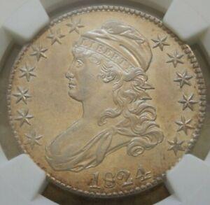 1824 Bust Half, NGC AU55, O-111 R2, Lists @ $665, GOLD LUSTER!