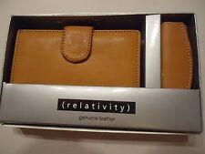 Relativity Genuine Leather Indexer Wallet & Lipstick Case,Cognac