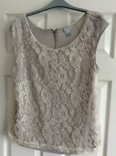 H&M Silver/Grey Lined Lacey Top