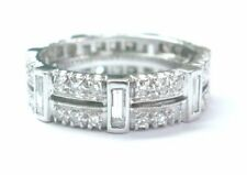 Platinum Round & Baguette Diamond Eternity Band Ring Size 6.75 6mm 1.54Ct