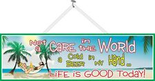 Not a Care in the World Beach Quote Sign Beach Decor Palm Trees Sign PM130