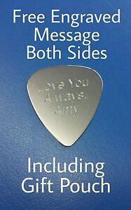 Personalised Custom Engraved Guitar Pick Plectrum GUITARIST BIRTHDAY GIFT steel