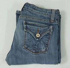 Vigoss Jeans Womens Size 1 Boot Cut Fit Blue Distressed Denim 2% Spandex Stretch