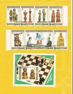 """SAO TOME - PRINCIPE 1981  - gestempelt°used - MiNr. 703-710+Bl """"Schach-WM"""""""