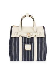 Henri Bendel Jetsetter Convertible Canvas Backpack Mini  Marino Navy Stripe New