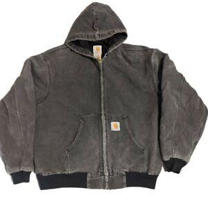 Carhartt Vintage Workwear Hoodie Jacket Black Large Rare 90s