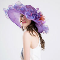 Women Purple Dress Church Wedding Kentucky Derby Wide Brim Sun Floppy Hat