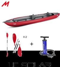 Pack kayak gonflable GUMOTEX SOLAR 2019, avec gilets, pagaies et gonfleur.