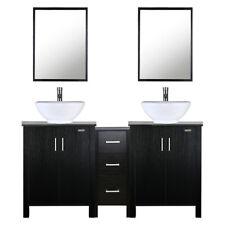 "60"" Bathroom Vanity Set W/ Small Cabinet Ceramic Sink Mirror Faucet Black Combo"