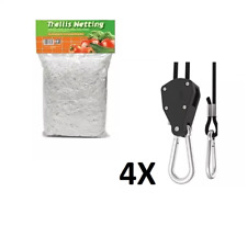 Trim Scissors + (4) Rope Hangers Ratchet Grow Light Hooks