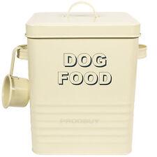 Vintage Crema Esmalte Perro Mascota De Almacenamiento De Alimentos Recipiente Scoop Galleta tratar Canister