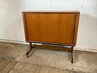 Vintage Teak TV Unit Drinks Cabinet with Roller Door