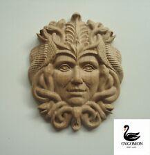"©New Wooden carved ornament relief mascaron""Gorgon""Onlay Applique Sticker Decor"