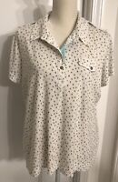 Sport Haley Women's Golf Polo Shirt Size XL Short Sleeve White Multicolor Print