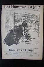 EMILE VERHAEREN POETE BELGE  CARICATURE DESSIN LES HOMMES DU JOUR N° 82 de 1909