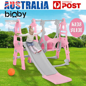 5-in-1 Kids Slide Swing Set Toddler Playground Toys Indoor Outdoor Play