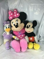 "Rare Set Disney Parks Mickey, Daisy & Minnie Mouse Plush Toy Doll 14"" Lot of 3"