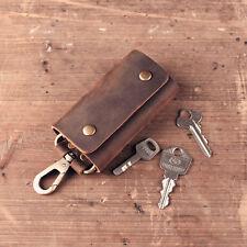 Handmade Genuine Vintage Leather Wallet Key Bag Case Ring Chain Car Belt Holder